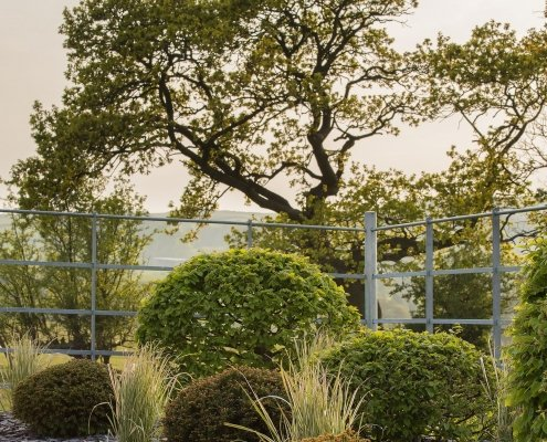 Hawthorn hedges Hornbeam and Yew Topiary Modern Planting Design Yorkshire