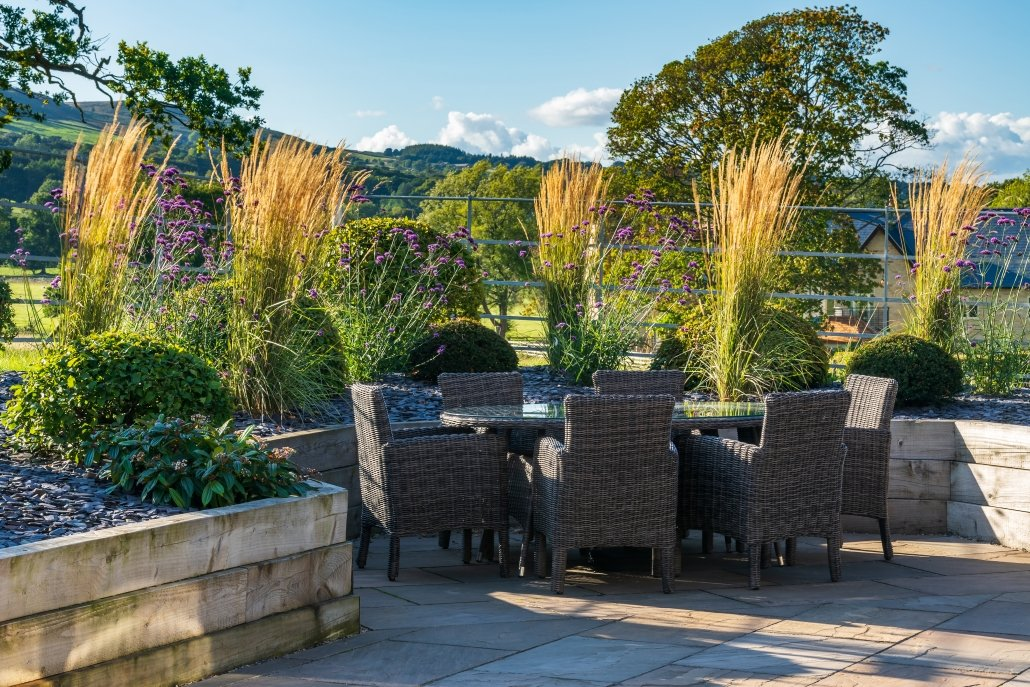 Modern, rural garden design, Planting.