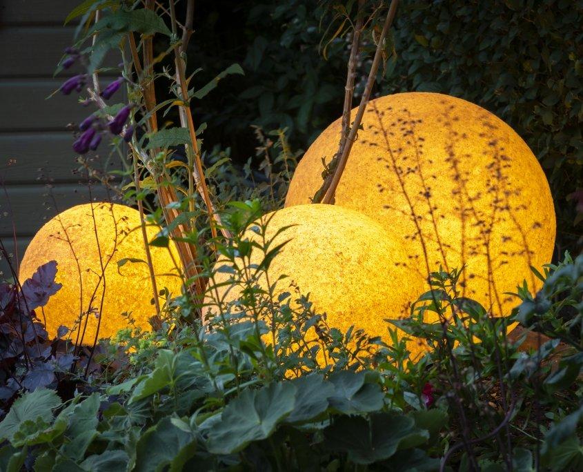 Garden Lighting, Planting Design, Ilkley Yorkshire UK. Stone Globe Lights