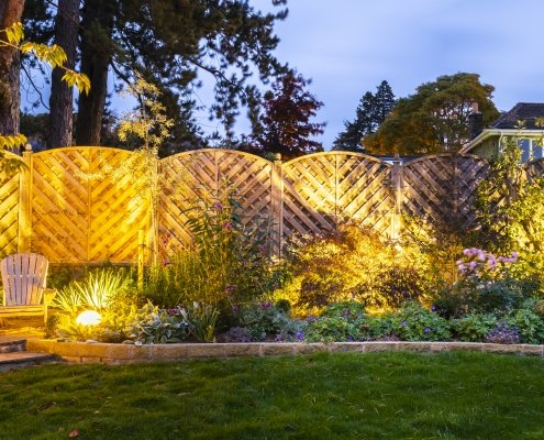 Garden Lighting, Planting Design, Ilkley Yorkshire UK. Stone Globe Lights